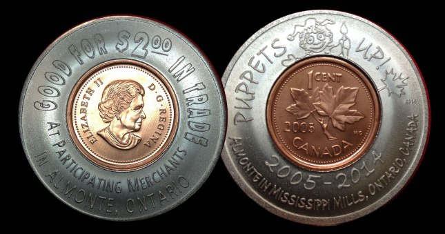 Puppets Up! 10th anniversary coin