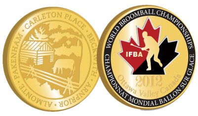 2012 World Broomball Championships Official Souvenir Medal, 3 different metals, $5 each (Reg. $10)