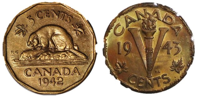 """Pair of Canadian WWII """"Tombac"""" nickels, 1942 & 1943, $2"""