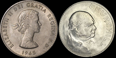 1965 Churchill Crown, obverse and reverse