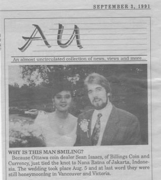 Announcement of Sean & Nana's wedding, in the September 3rd, 1991 edition of Canadian Coin News