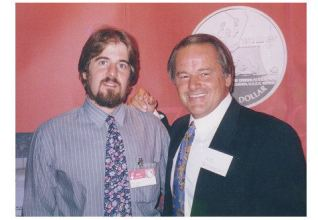 Sean & Hall-of-Famer Rod Gilbert, promoting the 1972-1997 Russia-USA Hockey Summit Series Commemorative Silver Dollar, 1997 American Numismatic Association Convention, New York City