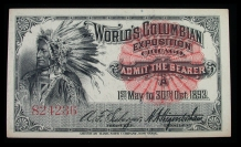 World's Columbian Exposition Chicago 1893 Ticket Indian (front)