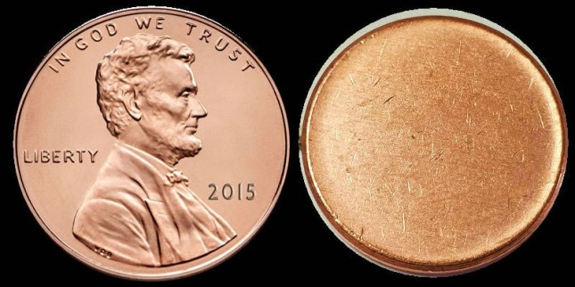 Lincoln cent with blank planchet