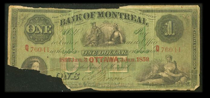Bank of Montreal One Dollar 1859