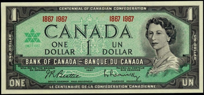 Canadian centennial dollar note