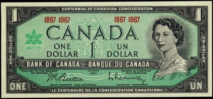 Canadian centennial dollar note