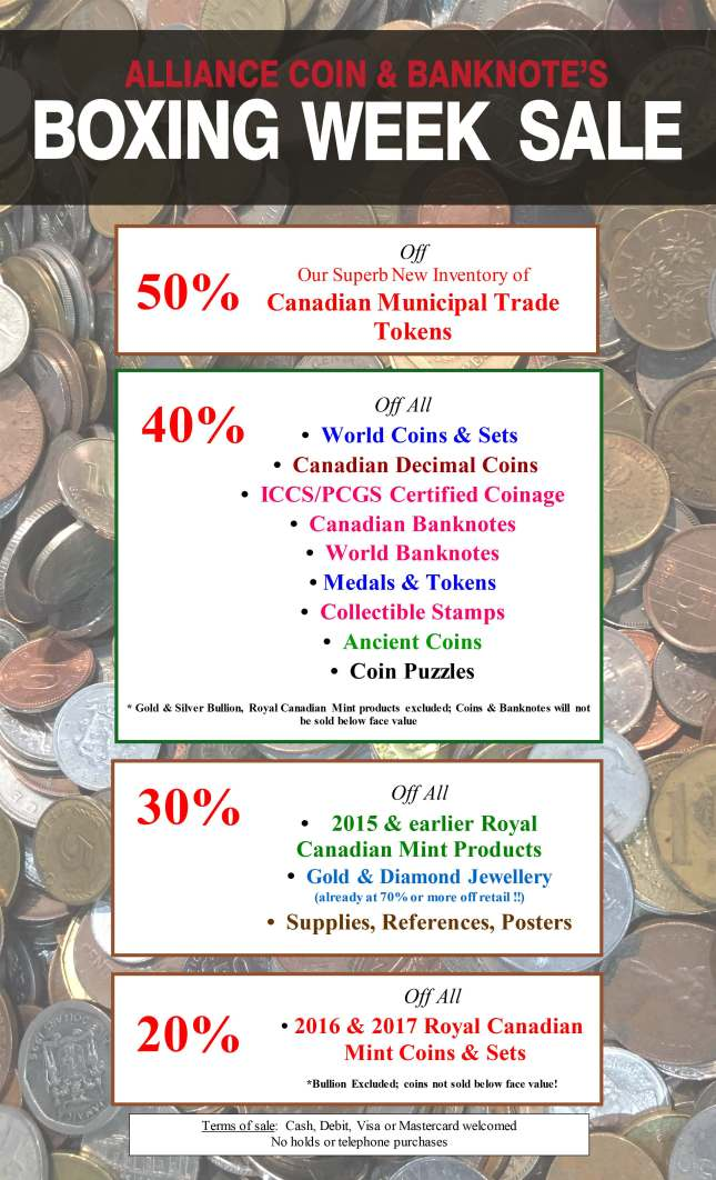 Details of Boxing Week Sale 2017 at Alliance Coin & Banknote