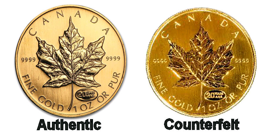 Authentic and counterfeit gold coins side by side