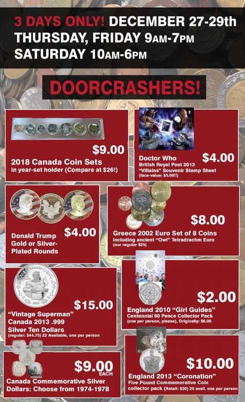 Door Crashers for Alliance Coin's Boxing Week Sale