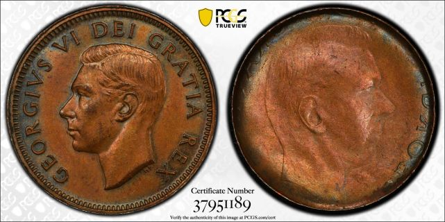 Cent George VI Obverse brockage
