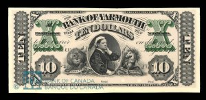 Bank of Yarmouth 10 Dollars 1870 Proof courtesy Bank of Canada Museum