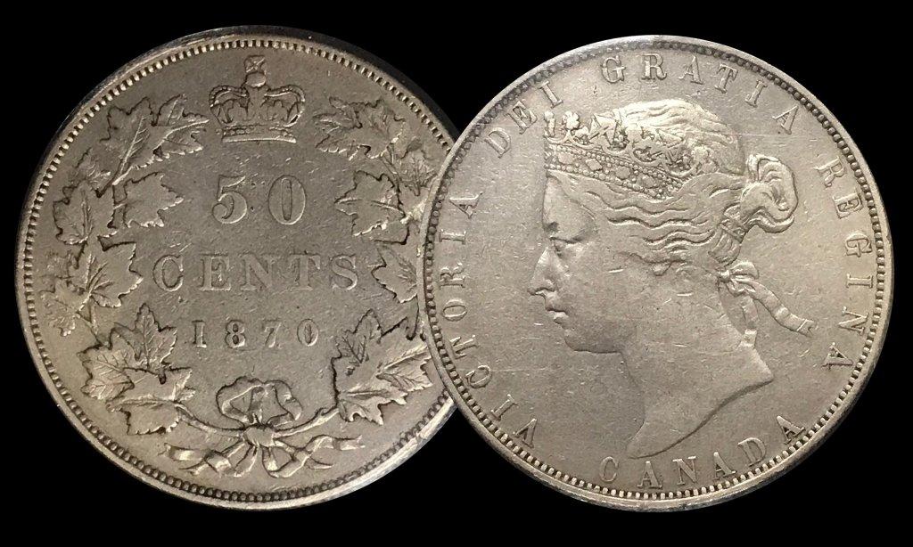 """A very scarce 1870 """"No LCW"""" Half Dollar in mid-grade"""