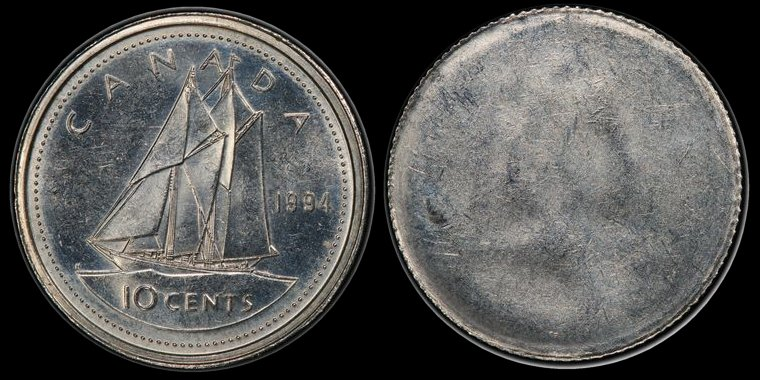Canada 10 Cents 1994 struck through a Capped Die