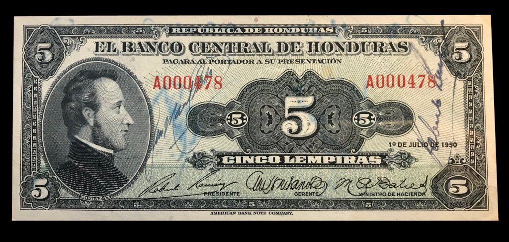 A Fabulous Autographed Note of the Honduran Central Bank