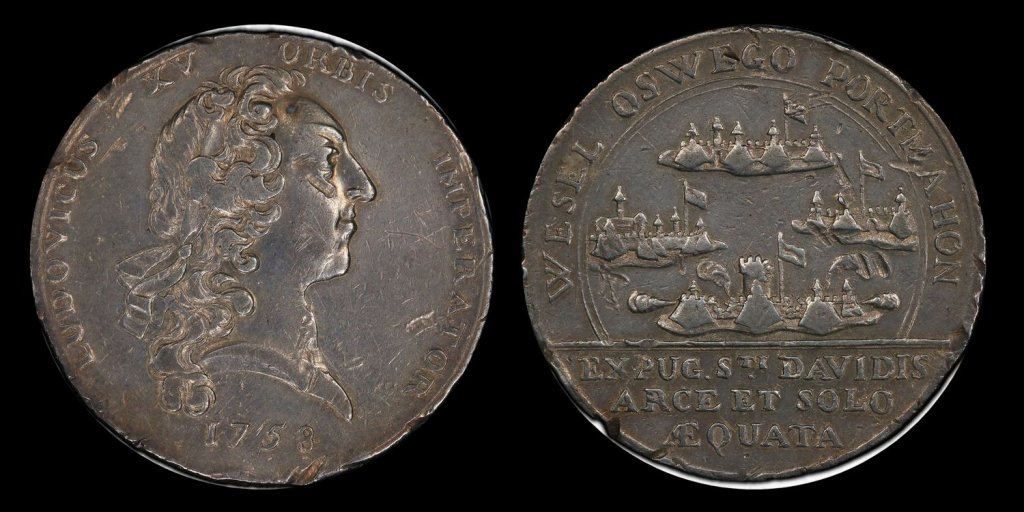 """1758 """"Oswego Captured"""" Medal of French Canada"""