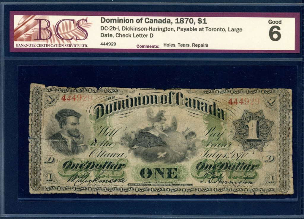 """Picture of the One Dollar note from 1870 """"Jacques Cartier"""""""